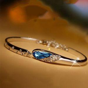Lt Blue Crystal Rhinestone Silver Bangle Bracelet